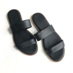 Cole Haan Black Slides Strappy Flat Sandals 7.5
